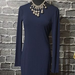 NWT BCBGeneration Deep Blue Draped Back Dress Sz M